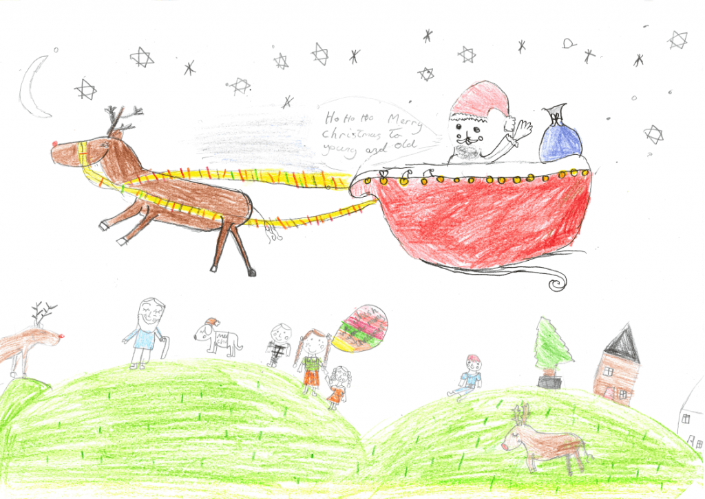 Drawing of Santa and Reindeer